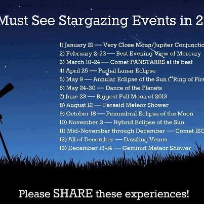 Star gazing events 2013
